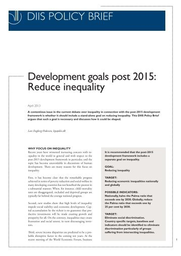 DIIS POLICY BRIEF Development goals post 2015: Reduce inequality