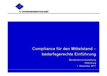 Compliance für den Mittelstand - TU Unternehmensberatung GmbH