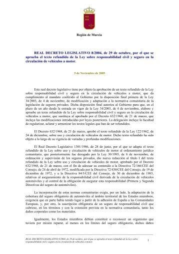 Real Decreto Legislativo 8/2004 - Comunidad Autónoma de la ...
