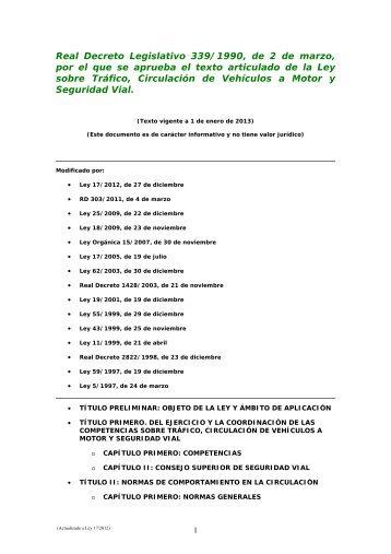 Real Decreto Legislativo 339/1990, de 2 de marzo, por el que se ...