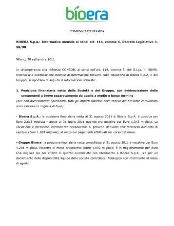 COMUNICATO STAMPA - Bioera S.p.A.
