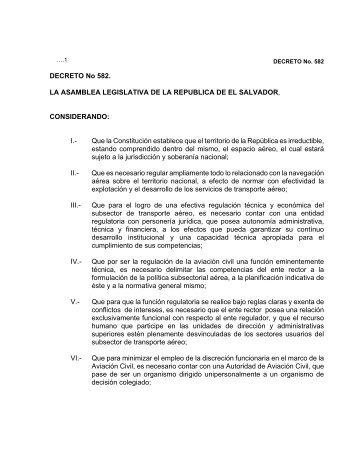 DECRETO No 582. LA ASAMBLEA LEGISLATIVA DE LA ...