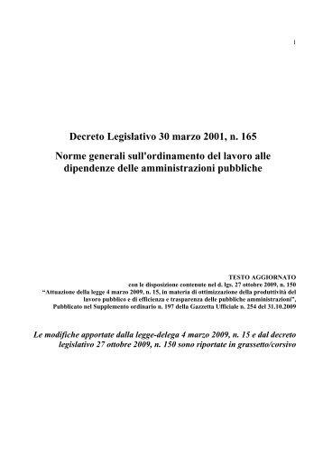 Decreto Legislativo 30 marzo 2001, n. 165 Norme generali ... - Adisu