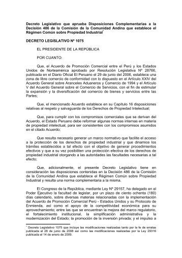 Decreto Legislativo Nº 1075 - Indecopi