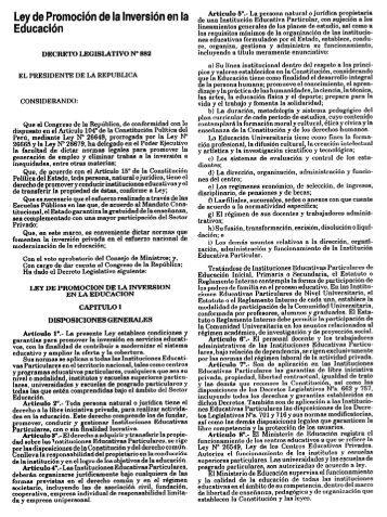 Decreto Legislativo N° 882 - Ministerio de Educación