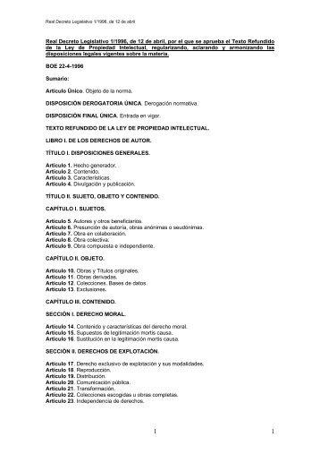 Real Decreto Legislativo 1/1996, de 12 de abril, por el que se ...
