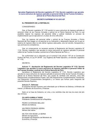 Aprueban Reglamento del Decreto Legislativo Nº 1132, Decreto ...