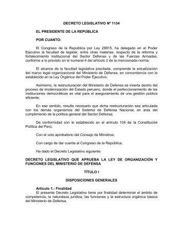 Decreto Legislativo Nº 1134 - Ministerio de Defensa