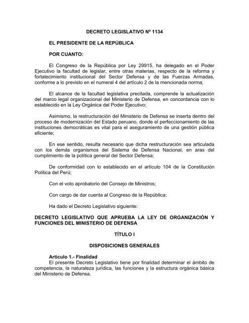 Decreto Legislativo Nº 1134 Ministerio De Defensa