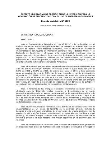 Decreto Legislativo Nº 1002 - Ministerio de Energía y Minas