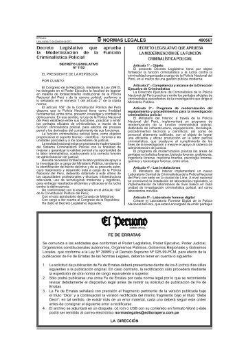 Decreto Legislativo Nº 1152 que aprueba la modernización - Policía ...