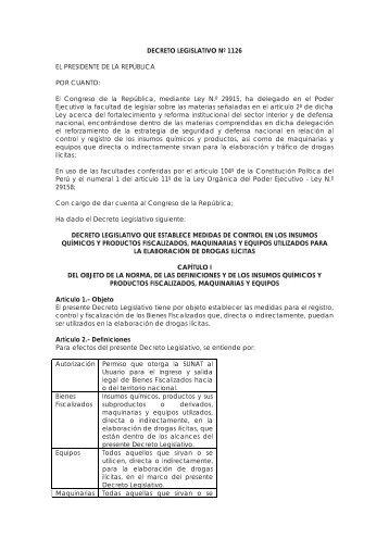 DECRETO LEGISLATIVO Nº 1126 EL PRESIDENTE DE LA ... - PCM