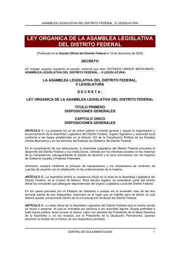 ley organica de la asamblea legislativa del distrito federal - Instituto ...
