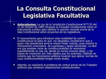 La Consulta Constitucional Legislativa Facultativa - Poder Judicial