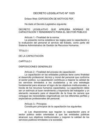 DECRETO LEGISLATIVO Nº 1025