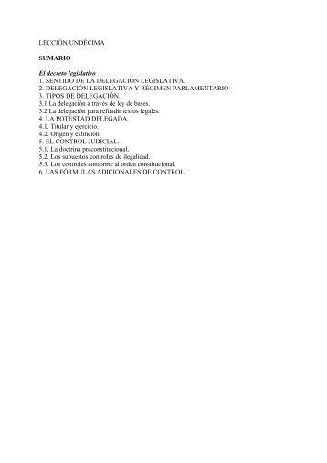 LECCIÓN UNDÉCIMA SUMARIO El decreto legislativo 1 ... - UNED