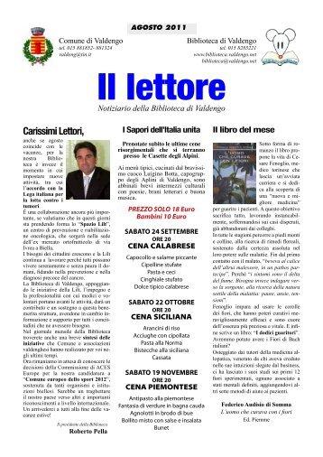 Carissimi Lettori, - Biblioteca di Valdengo