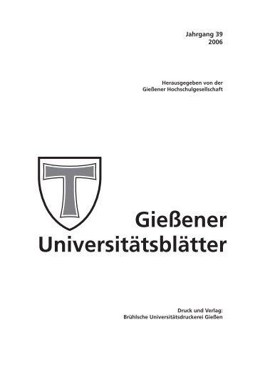 Universitätsblätter 2006 - Gießener Hochschulgesellschaft