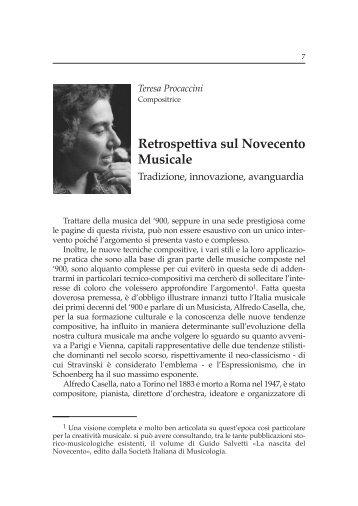 Retrospettiva sul Novecento Musicale - Istituto Superiore di Studi ...