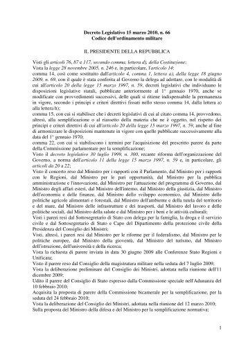 Decreto Legislativo 15 marzo 2010, n. 66 - Ministero della Difesa