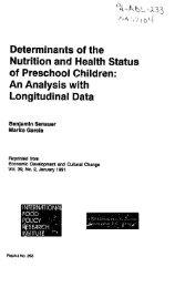 Determinants of the Nutrition and Health Status of Preschool Children