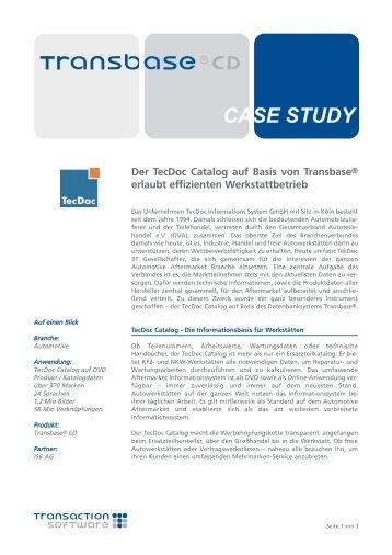 TecDoc CATALOG auf Transbase - Transaction Software GmbH