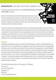 Fairtrade Award 2010 B ewer B ung F ü RDEN FA I RT RADE -AWA ...