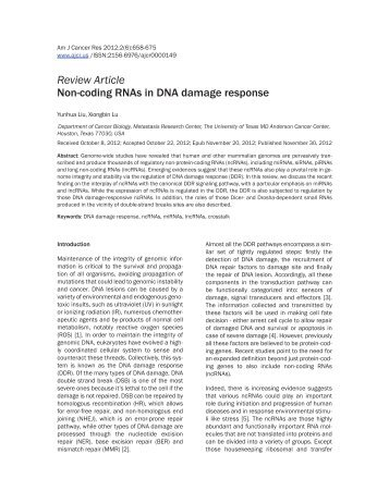 Review Article Non-coding RNAs in DNA damage response
