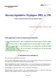 Privacy - Decreto legislativo 30 giugno 2003, n. 196
