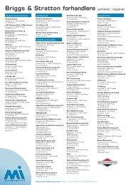 Briggs & Stratton forhandlere sorteret i regioner - MI