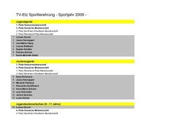 TV-Elz Sportlerehrung - Sportjahr 2009 -