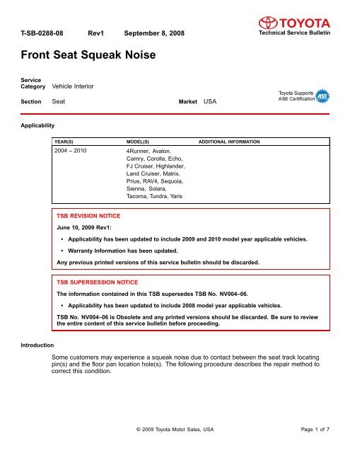 FRONT SEAT SQUEAK NOISE T-SB-0288-08 - Toyota Parts