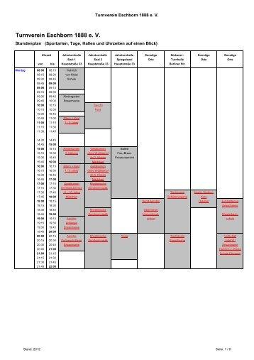 Zeitübersicht der Sportangebote als PDF öffnen - Turnverein Eschborn