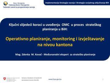 Operativno planiranje, monitoring i izvještavanje na nivou kantona