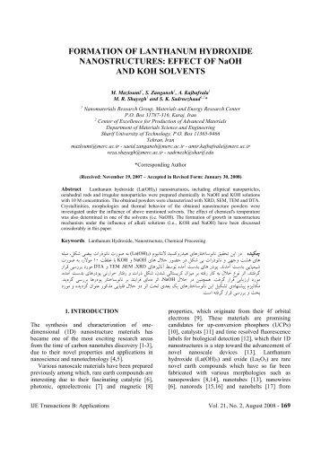 FORMATION OF LANTHANUM HYDROXIDE NANOSTRUCTURES ...