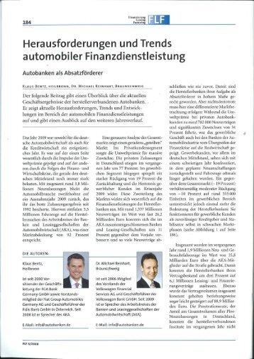 Herausforderungen und Trends - Arbeitskreis der Autobanken