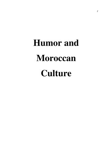 Humor and Moroccan Culture - Free EBooks Library