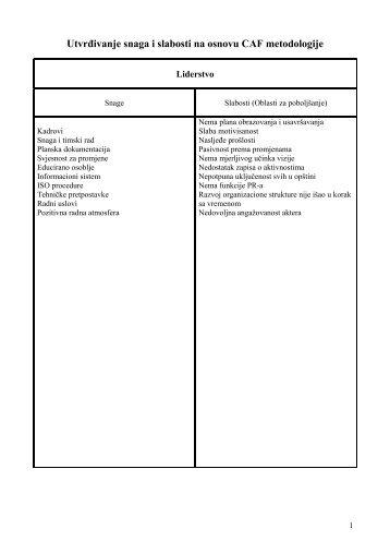 Utvrđivanje snaga i slabosti na osnovu CAF metodologije