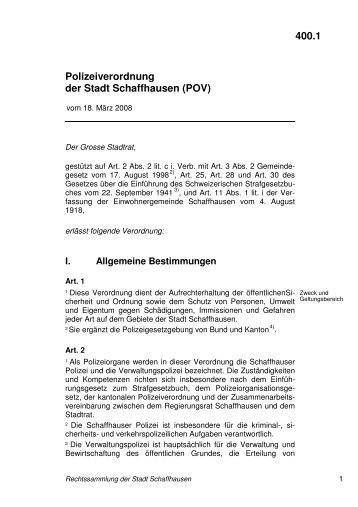 400.1 Polizeiverordnung der Stadt Schaffhausen (POV)