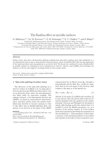 The Rashba-effect at metallic surfaces - JUWEL ...