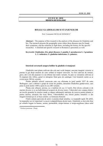 Istoricul cercetarii asupra bolilor la gladiole si stanjenei