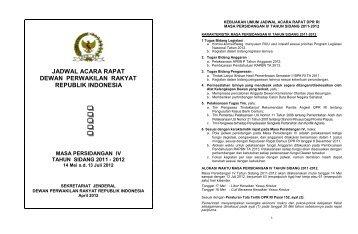 jadwal acara rapat dewan perwakilan rakyat republik ... - DPR-RI