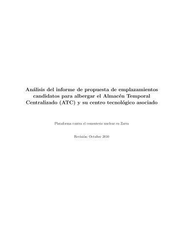 Análisis del informe de propuesta de emplazamientos candidatos