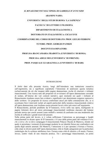 il rinascimento nell'opera di gabriele d'annunzio - Padis - Sapienza
