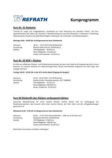 Kursprogramm zum Download - TV Refrath