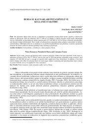 bursa su kaynakları potansiyeli ve kullanıcı faktörü - Uludağ ...