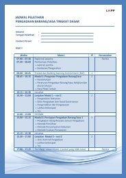 jadwal pelatihan pengadaan barang/jasa tingkat dasar - LKPP