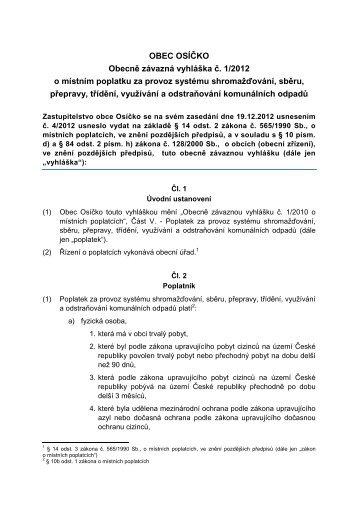 Vyhláška odpady 2013 - Osíčko