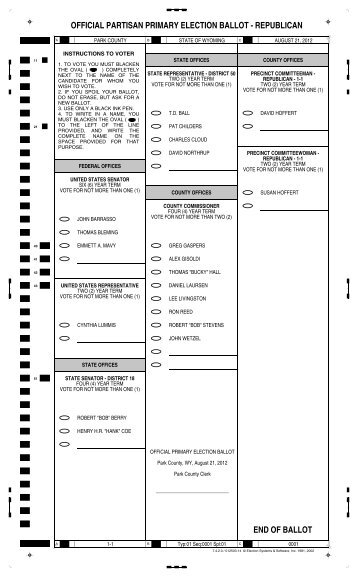 official partisan primary election ballot - Park County Government