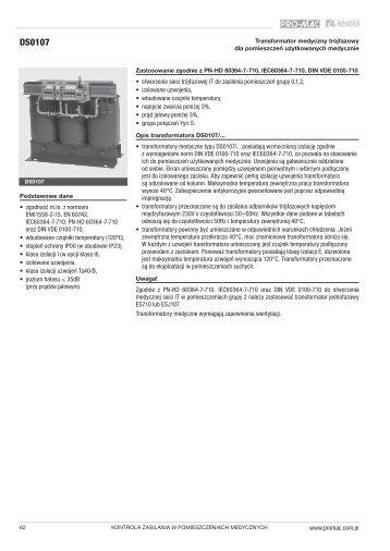 Sieci medyczne IT - transformator medyczny trójfazowy ... - PRO-MAC